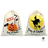 100 Percent Cotton Muslin Bags, Anan Kids Party Treat Goody Drawstring Trick or Treat Bags with Kids Party Pins Brooches brooch pin Reusable Produce Bags (14 x 17inch, Washable) (Pumpkin2+Witch)