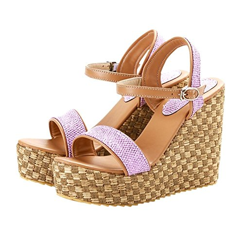 Carolbar Mujeres Charm Hebilla Dulce Elegancia Sandy Beach Summer Straw Braid Plataforma Vestido Sandalias Cuñas Púrpura Rosa