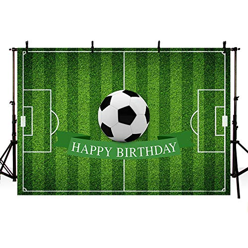 MEHOFOTO Football Theme Happy Birthday Photography Backdrop Party Decoration Soccer Field Banner Photo Studio Background 7x5ft ()