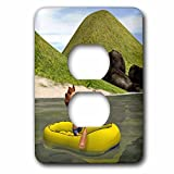 3dRose lsp_164072_6 Cartoon Man On Ocean Rowing Inflatable Raft - 2 Plug Outlet Cover