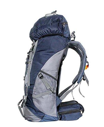 YYY-Un nuevo día al aire libre Mochila viaje impermeable montañismo bolso hombres y mujeres deportes bandolera capacidad 55L , blue gray