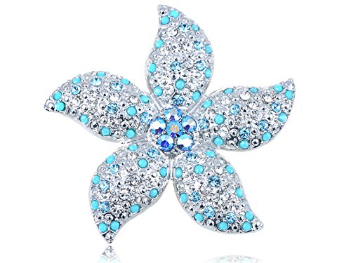 Alilang Swarovski Crystal Elements Faux Turquoise Bead Stargazer Lily Flower Pin Brooch ()