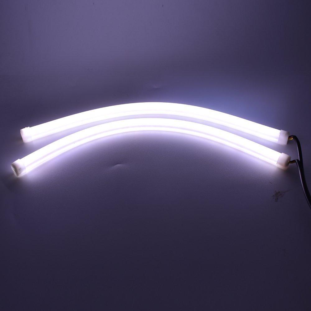 60 cm wei/ß DRL LED Dynamic Sequential Switchback Kingnew 2Pcs Flexible Tagfahrlicht Blinker Kopf Streifen Licht