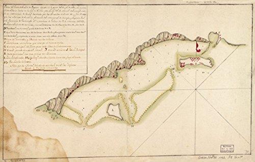 Historic 1782 Map | Plano del puerto de la Ysla de Roatn cituado en la parte del S. y E. de ella, el centro de esta ysla se halla en la latd. N. 1624 y en longd. 2896, merido. 70in x 44in