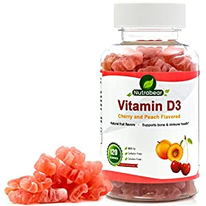 Vitamin D3 800 IU Gummies - 100% Vegetarian for Kids & Adults - A Chewable Supplement by Nutrabear