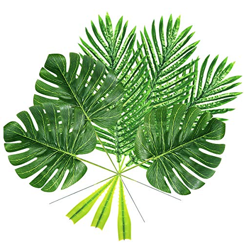 Yinhua Artificial Tropical Palm Leaves Tropical Leaves Artificial Plant Leaves Home Kitchen Party Decorations (Green, Pack of 20)