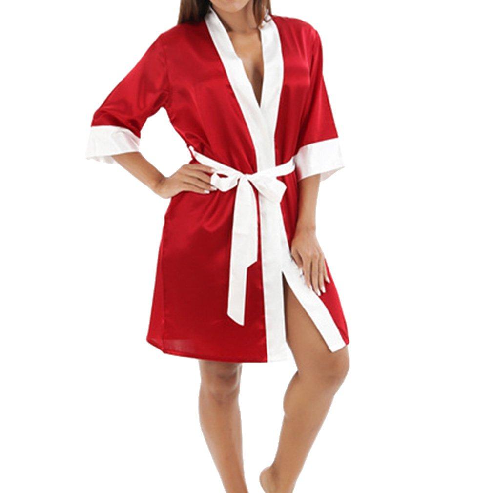 TALLA S/UK 6-8. Juleya Short Satin Wedding Kimono Robes Ropa de Dormir Camisón Vestido de Mujer Bata de Albornoz Robe Sexy Mujer