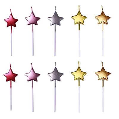 ZERIRA 10 Pcs Cute Star Shape Birthday Candles Multi-Color Cake Candle Toppers for Party Wedding Cake Decoration Supplies (Star Style): Home & Kitchen