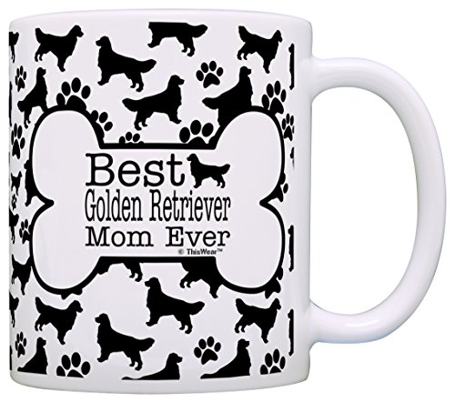 Dog Owner Gifts Best Golden Retriever Mom Ever Paw Pattern Gift Coffee Mug Tea Cup Bone Pattern