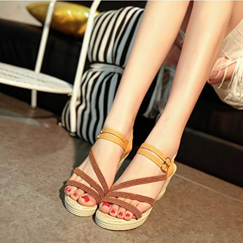 Huazi2 Women's Fashion Casual Roma Solid Buckle Platform High Heel Shoes Wedges Sandals by Huazi2 (Image #1)