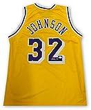 Magic Johnson Hand Signed Autographed Yellow LA Lakers Jersey Size Large JSA