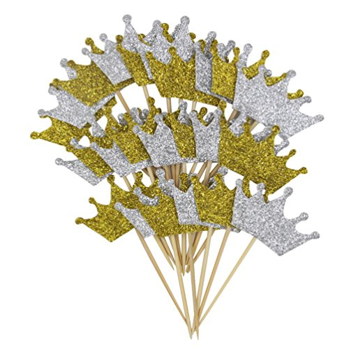Mybbshower Glitter Gold and Silver Crown Cupcake Toppers for First Birthday Decorations Pack of (Silver Crowns Design)