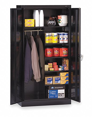 "Tennsco 7214 24 Gauge Steel Standard Welded Combination Storage Cabinet, 5 Shelves, 150 lbs Capacity per Shelf (50 lbs per half shelf), 36"" Width x 72"" Height x 18"" Depth, Black from Tennsco"