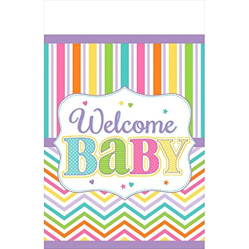 """Amscan Colorful Baby Bright Plastic Tablecover, 54 x 102"""","""