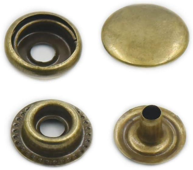 100pcs bouton pression métal 10mm 15mm argenté gris bronzé cuir sac portefeuille