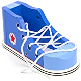 Imagination Generation Cool Kicks Blue Lacing Sneaker - Wooden Practice Lace Up Tie Shoe with One Loop Method Instructions