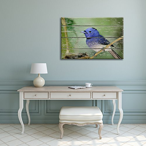 Blue Little Bird Sitting on a Tree Branch on Vintage Wood Textured Background Rustic Country Style