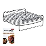 [XLVersion] Air Fryer Accessories - Air Fryer Rack XL with 5 Skewers, Free Recipes Included, Compatible with Philips XL/Power Air Fryer XL/GoWISE USA XL/Cooks Essentials Air fryer XL