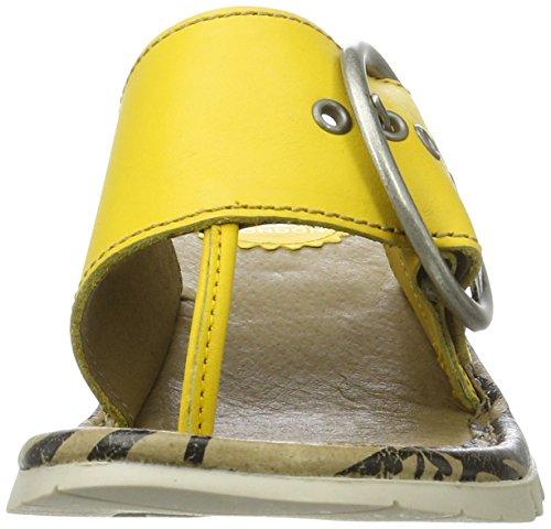 Fly London P500453026, Sandalias de Cuña con Separador de dedos Mujer Amarillo (Lemon 027)
