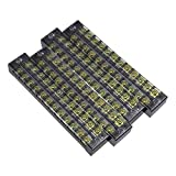 uxcell 4 Pcs 12 Positions Dual Rows 600V 25A Cable Barrier Block Terminal Strip TB-2512L