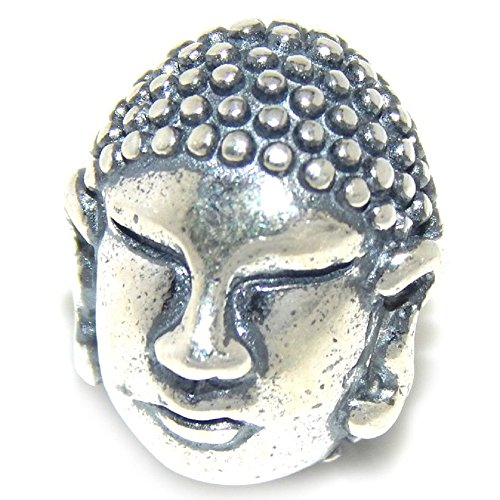 (ICYROSE Solid 925 Sterling Silver Buddha Head Charm Bead 370 for European Snake Chain Bracelets)