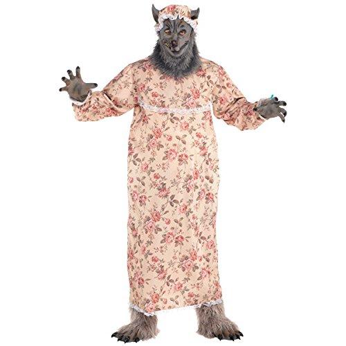 Amscan 847758 Adult Grandma Wolf Costume Plus Size, Adult Plus 2XL (4852), Multicolor ()