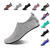 NINGMENG Aqua Socks Beach Water Shoes Barefoot Yoga Socks Quick-Dry Surf Swim Shoes for Women Men (Silver Grey, 38/39EU)