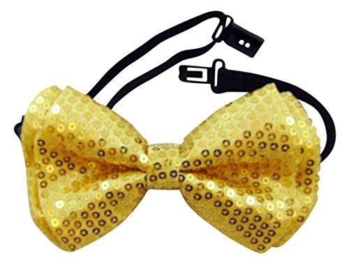 Gold Bowtie Pre-tied Adjustable Sequin Bow Tie Formal Tuxedo Wear]()