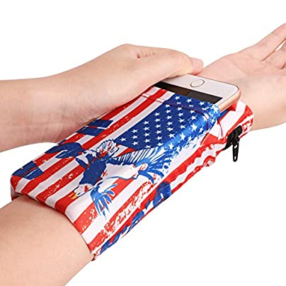 Afinder Men Women Elastic Running Armband Wrist Bag Purse Cell Phone Holder Bag Sweat Absorbing Walking Cycling Biker Dance Wristband Pouch Bag Cash Card Key Wrist Wallet Arm Band Storage Bag Estimated Price £4.63 -