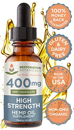 High Strength Hemp Oil for Anxiety and Pain Relief - 400mg Delicious Mint Chocolate Flavor 1 Ounce - 30ml 60 Servings - Restorative Botanicals - Also Supports Healthy Sleep Patterns, Mental Clarity