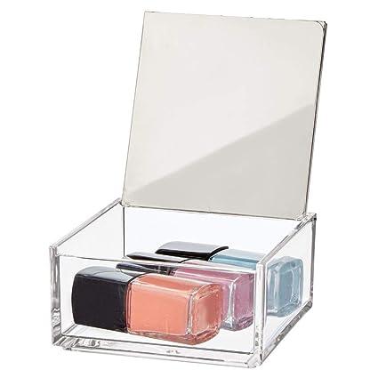 mDesign Caja de maquillaje pequeña con espejo – Organizador de cosméticos para baño y tocador –