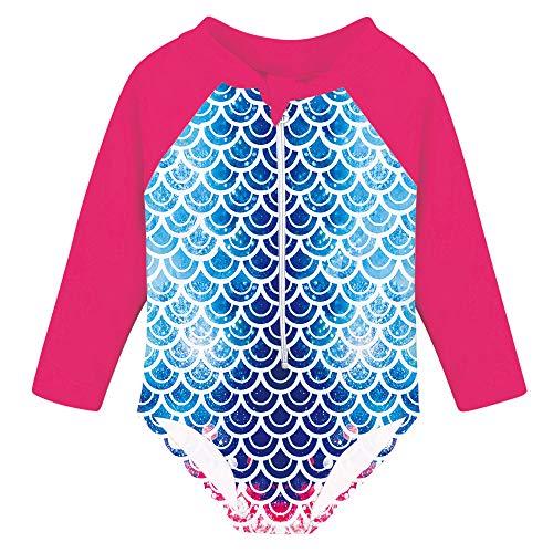Fanient Baby Girls Bathing Suit Mermaid One-Piece Swimsuit Long Sleeve Swimwear for Summer Beach 1-2T