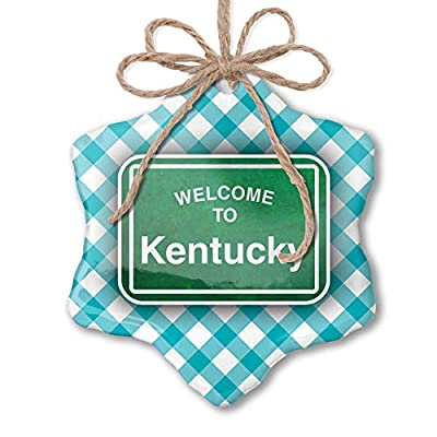NEONBLOND Christmas Ornament Green Road Sign Welcome to Kentucky Blue Teal Turquoise Plaid