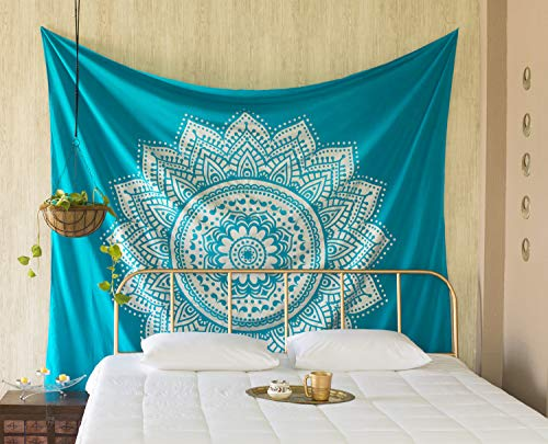 Madhu International Mandala Tapestry Wall Hanging Psychedelic Hippie Bohemian Tapestries Indian Bedding Wall Decor (Turquoise Silver, Queen(84x90Inches)(215x230cms))