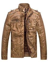 Wantdo Men's Vintage Stand Collar Pu Leather Jacket US Medium Yellow