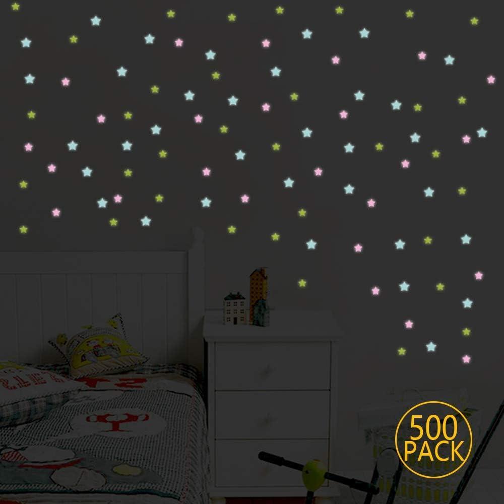 Ideale per cameretta bambini camera letto,Stelle Fosforescenti per il Soffitto Adesivi da Parete Fluorescenti,500 Pezzi Stelle Fluorescenti Decorazione Adesivo Adesivo da parete con lungo Luminosit/à