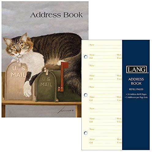 (Lang Company Address Book for Women - Cat Design - Three Ring Binder with Tabs - Holds 600 Addresses - Includes Refill Pages for 240 More Addresses)