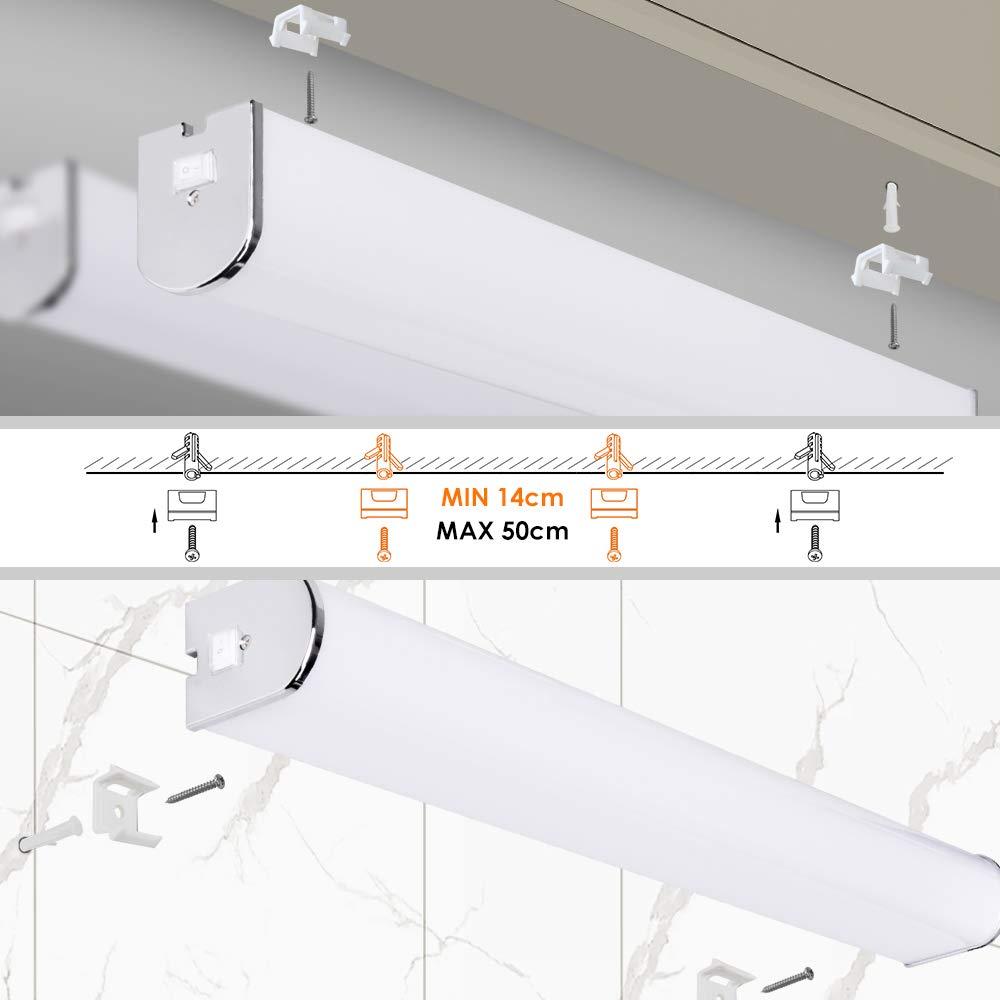 Lampara Ba/ño Aplique de Pared LED 15W 60CM IP44 con Interruptor para Espejo de Ba/ño Cocina Habitacion Alto Brillo 1200Lm Luz Natural 4000K No Regulable Lot de 1 de Enuotek