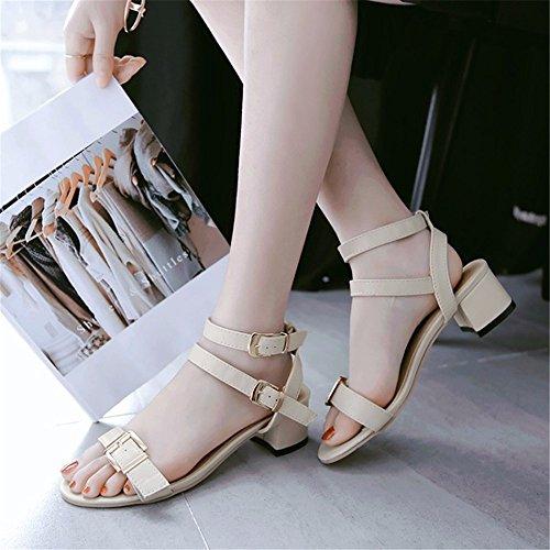 große Sandalen Mittlere Größe Gurtjustierknöpfe Beige Größe Damen Sandalen Sandalen und S6YHP