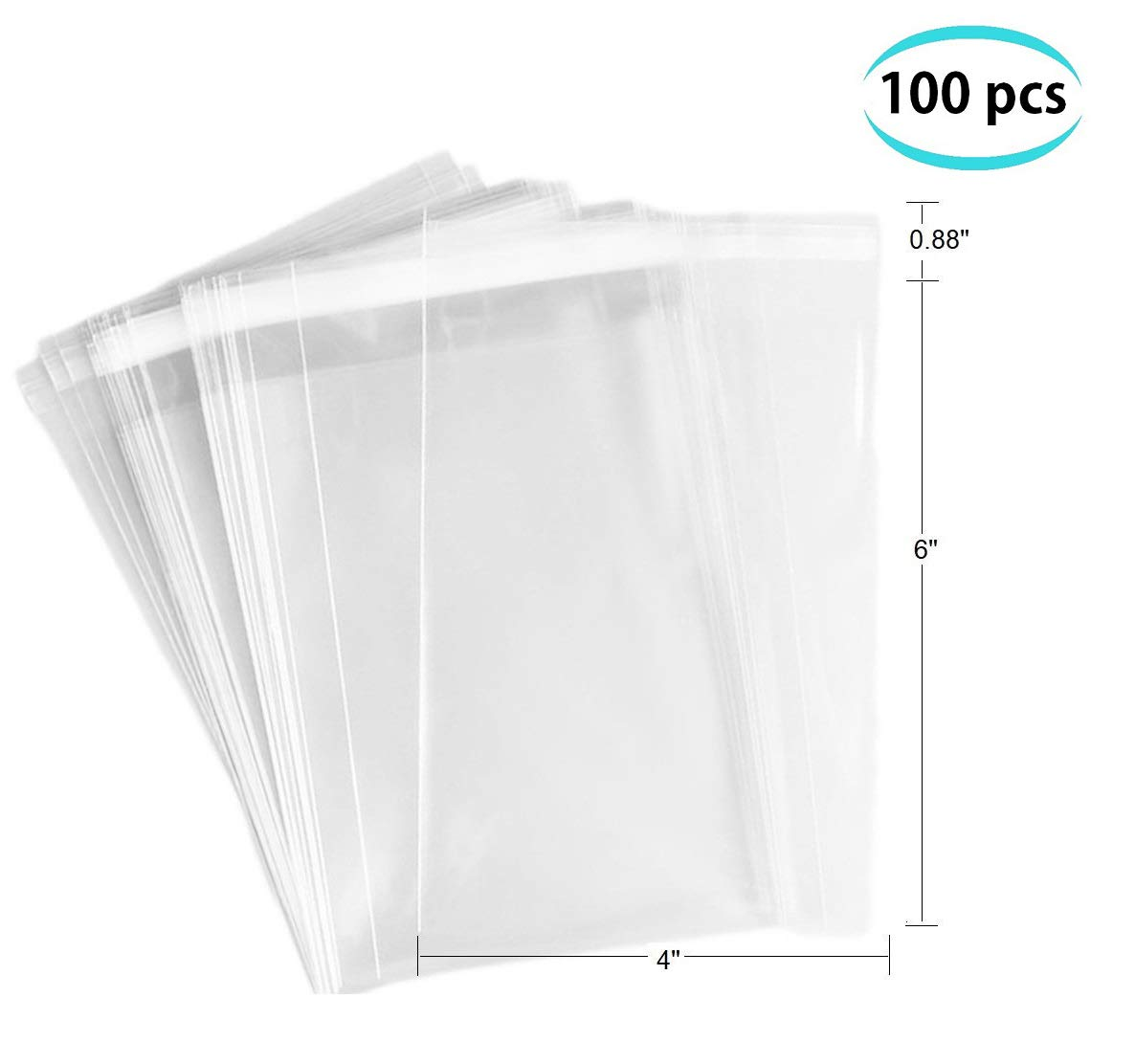 FlanicaUSA 100 pcs Clear Flat Resealable Cello/ Cellophane Bags Good for Bakery, Candle, Soap, Cookie,jewelry items bags. (3