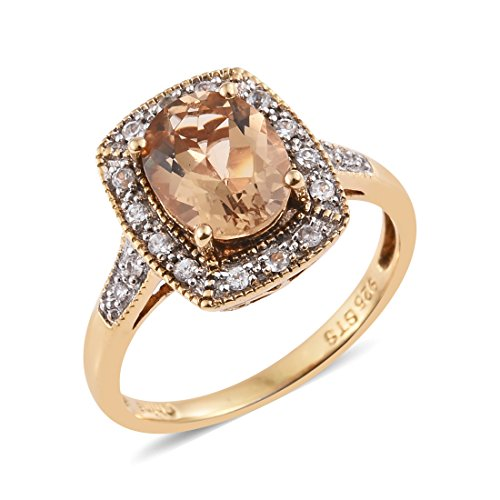 Chocolate Beryl, White Zircon Yellow Yellow Gold Plated Silver Fashion Ring For Women 1.7 cttw. Size 7 ()