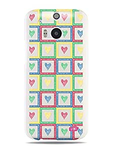 GRÜV Premium Case - 'Cute Colorful Hearts Squares' Design - Best Quality Designer Print on White Hard Cover - for HTC One M8 2014