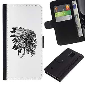 KingStore / Leather Etui en cuir / Samsung Galaxy Note 4 IV / Couvre-chef amérindien