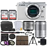 Canon EOS M100 Mirrorless Digital Camera (White) + EF-M 15-45mm f/3.5-6.3 IS STM Lens (Graphite) + EF-M 55-200mm f/4.5-6.3 IS STM Lens + 32GB Memory Card + Tripod + 12 Piece Card Holder + UV Filters