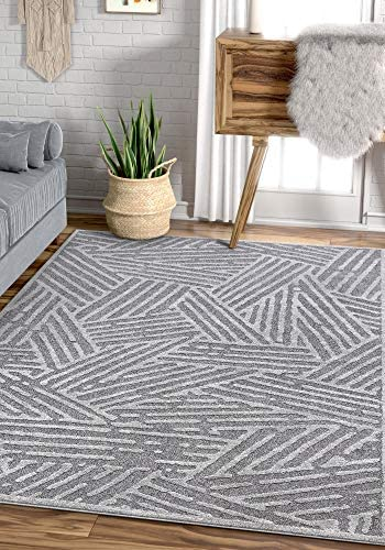 Well Woven Talson Grey Geometric Lines Pattern Area Rug 8×11 7 10 x 10 6