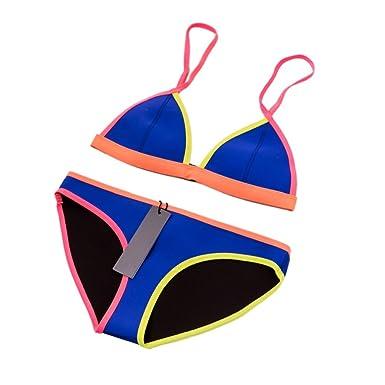 a1ca22874 MUXILOVE Women Neoprene Bikini in Bright Color Neon Binding Swimsuit  Swimwear: Amazon.co.uk: Clothing