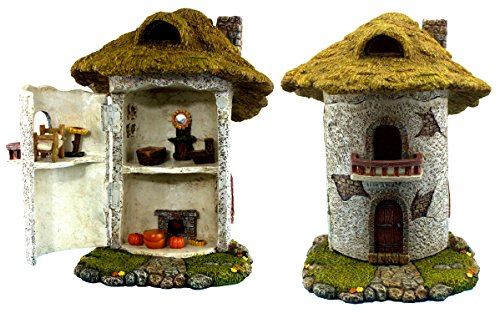 "Fairy Garden Farm House With Miniature Furniture & Accessories is 9.25"" High - Door can open wide -11 Pieces - by Pretmanns"