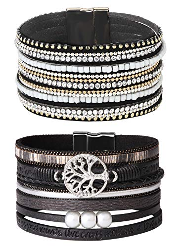 LOYALLOOK Leather Wrap Bracelet Shinning Wrap Clasp Bangle Handmade Cuff Bangle Bracelets Handmade Pearls Bracelet for Women Girls Black