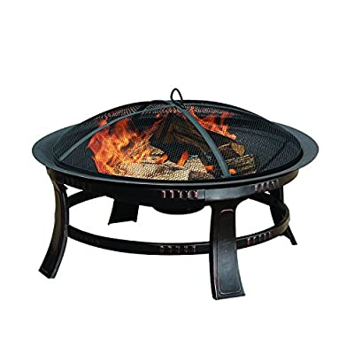 Brant Wood Burning Circular Fire Pit in Rubbed Bronze - Overall dimensions: 30L x 30W x 17.32H inches Simple, round design supported by a steel frame Mesh spark guard keeps users safe - patio, outdoor-decor, fire-pits-outdoor-fireplaces - 514X6uTxIBL. SS400  -