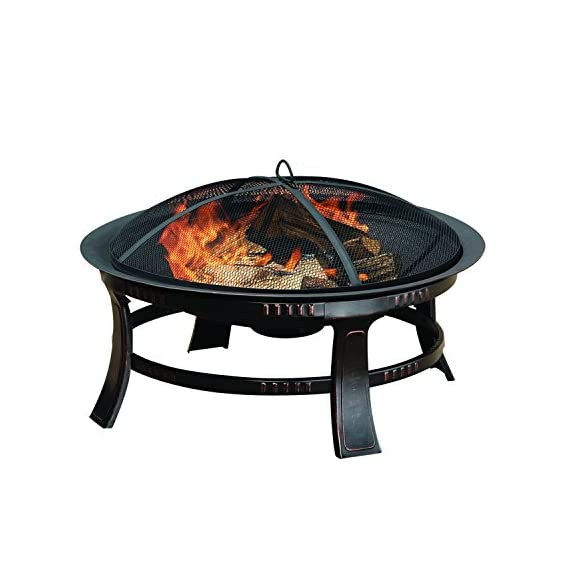 Brant Wood Burning Circular Fire Pit in Rubbed Bronze - Overall dimensions: 30L x 30W x 17.32H inches Simple, round design supported by a steel frame Mesh spark guard keeps users safe - patio, outdoor-decor, fire-pits-outdoor-fireplaces - 514X6uTxIBL. SS570  -